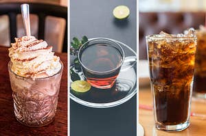 On the left, hot chocolate topped with whipped cream, in the middle, a cup of tea, and on the right, a glass filled with ice and cola