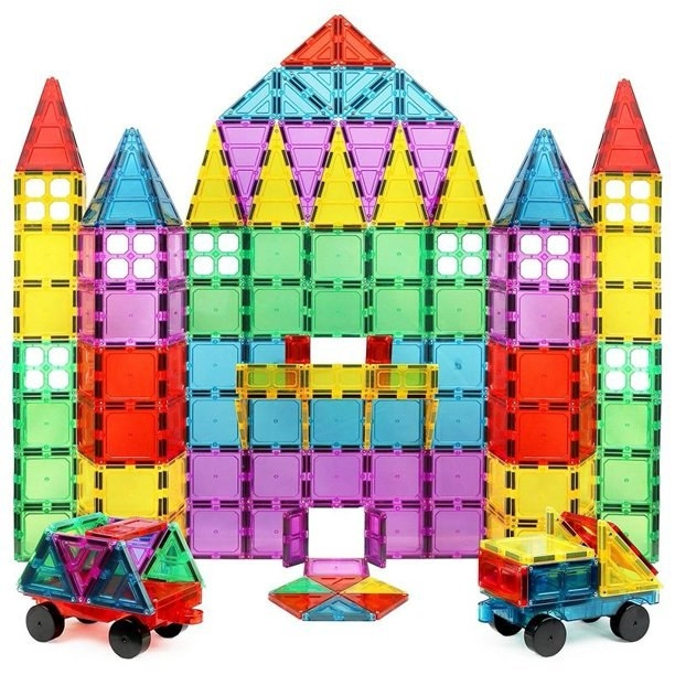 the colorful square tiles in the shape of a tower