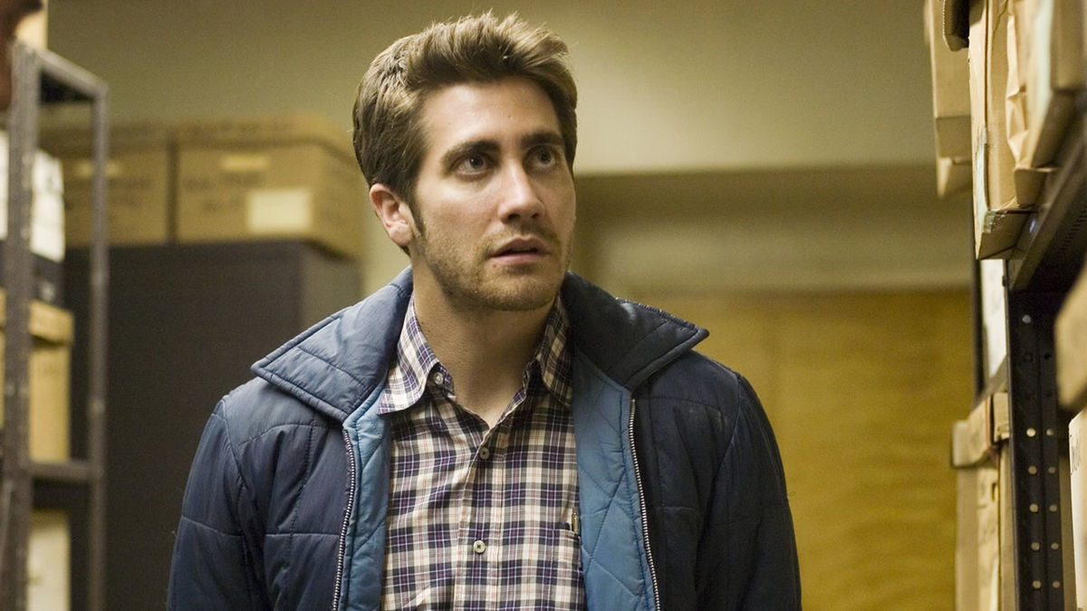 A close up photo of Jake Gyllenhaal in Zodiac