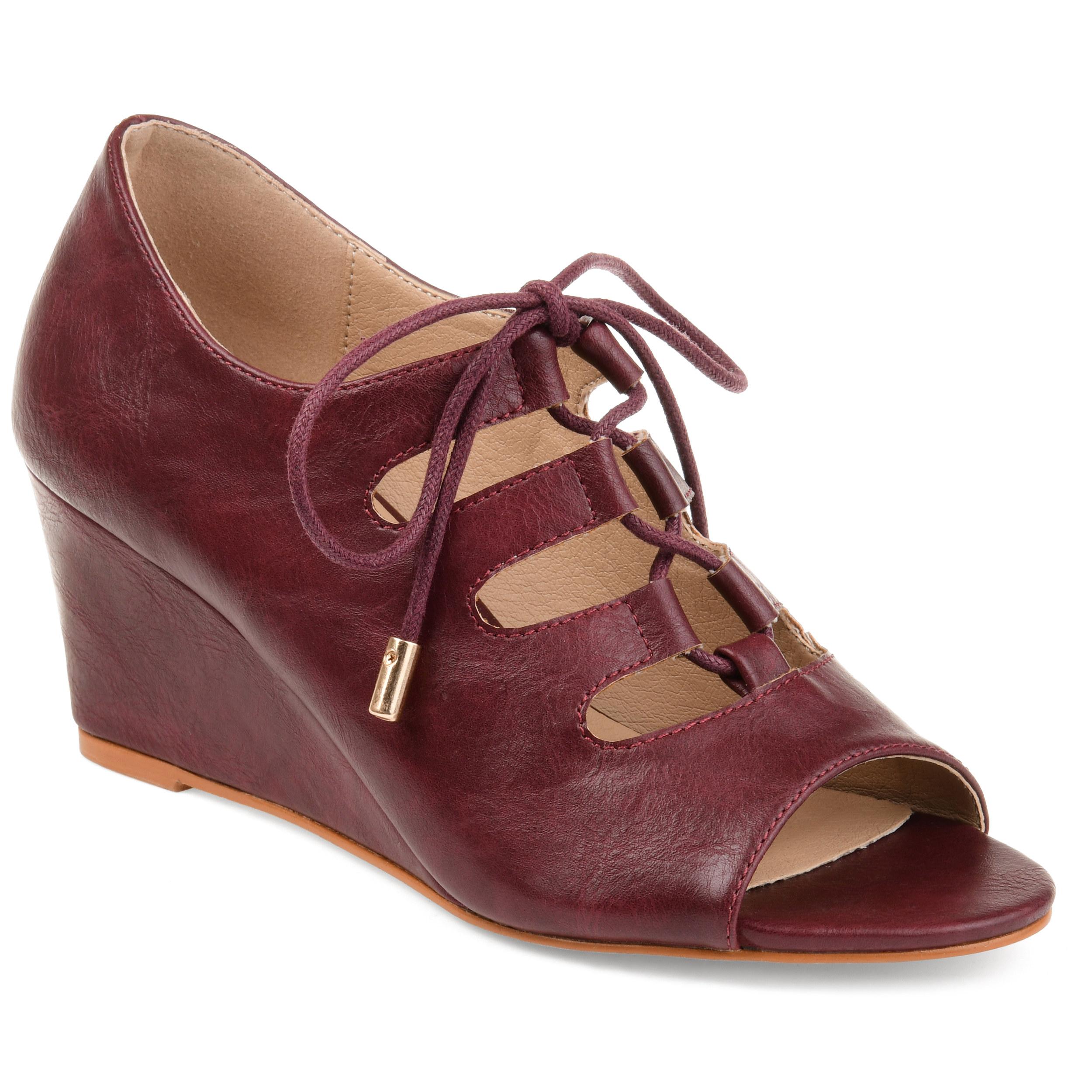 dark bergundy lace-up wedge sandals
