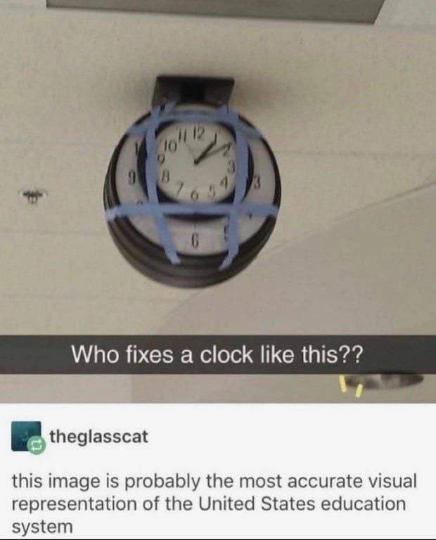 A picture of a clock taped to another clock