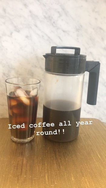 Maitland Quitmeyer's glass of iced coffee next to the maker