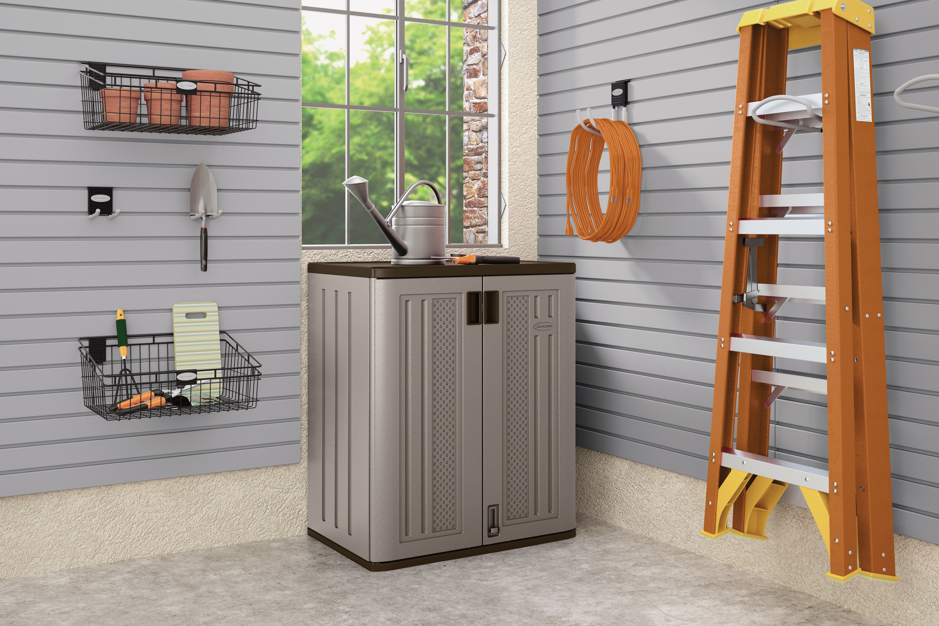 the grey storage locker with two cabinets
