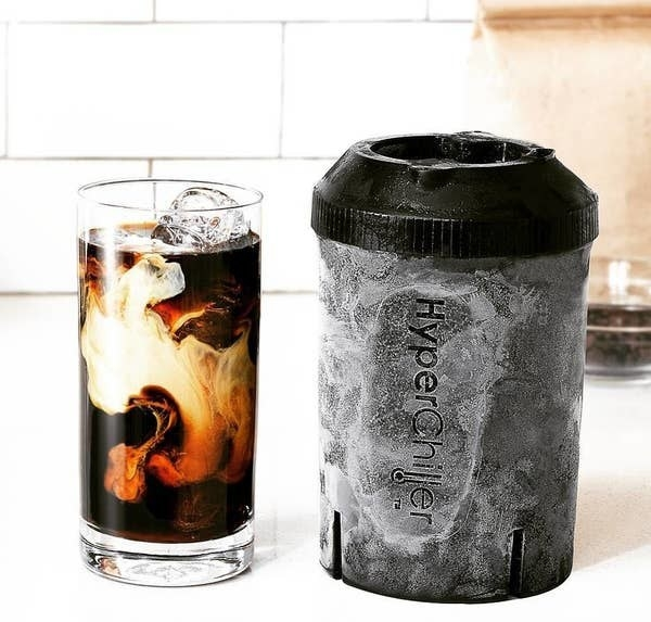 The frozen HyperChiller next to a glass of iced coffee