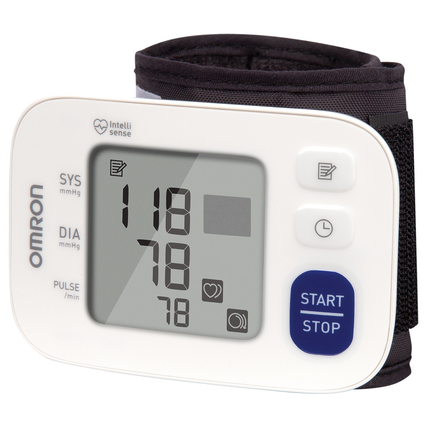 a white panel showcasing the  blood pressure attached to a wrist band