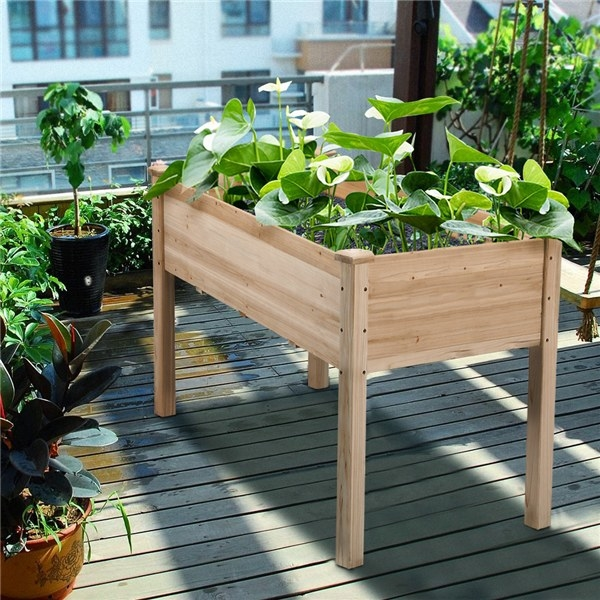 a light wooden garden bed