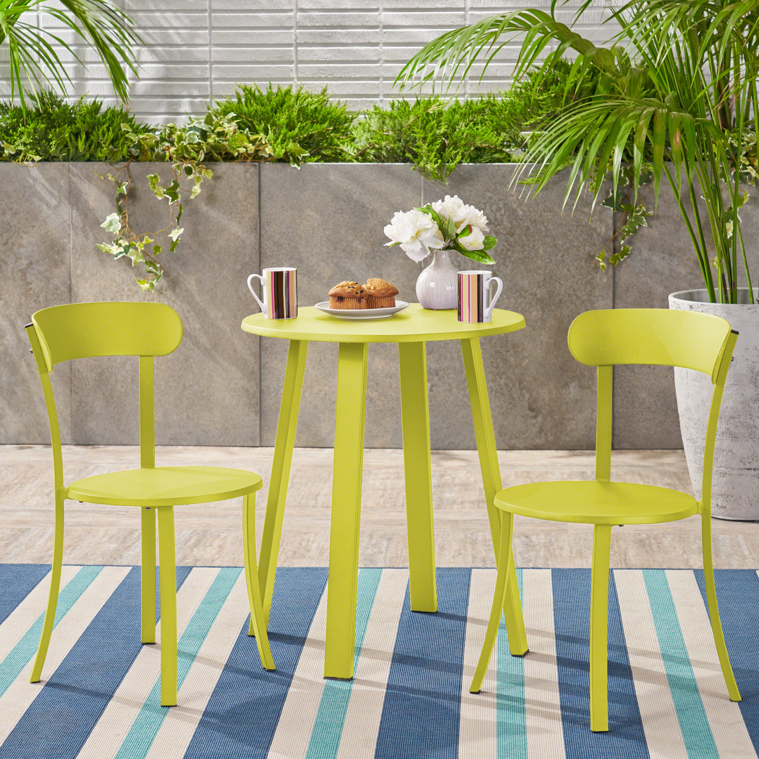 bright yellow table and chairs set
