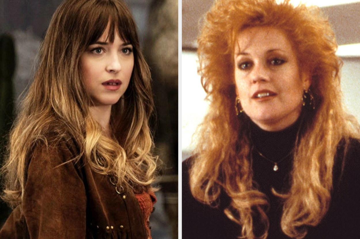A split image showing close-ups of Dakota Johnson in Bad Times at the El Royale and Melanie Griffith in Working Girl with big 80s hair