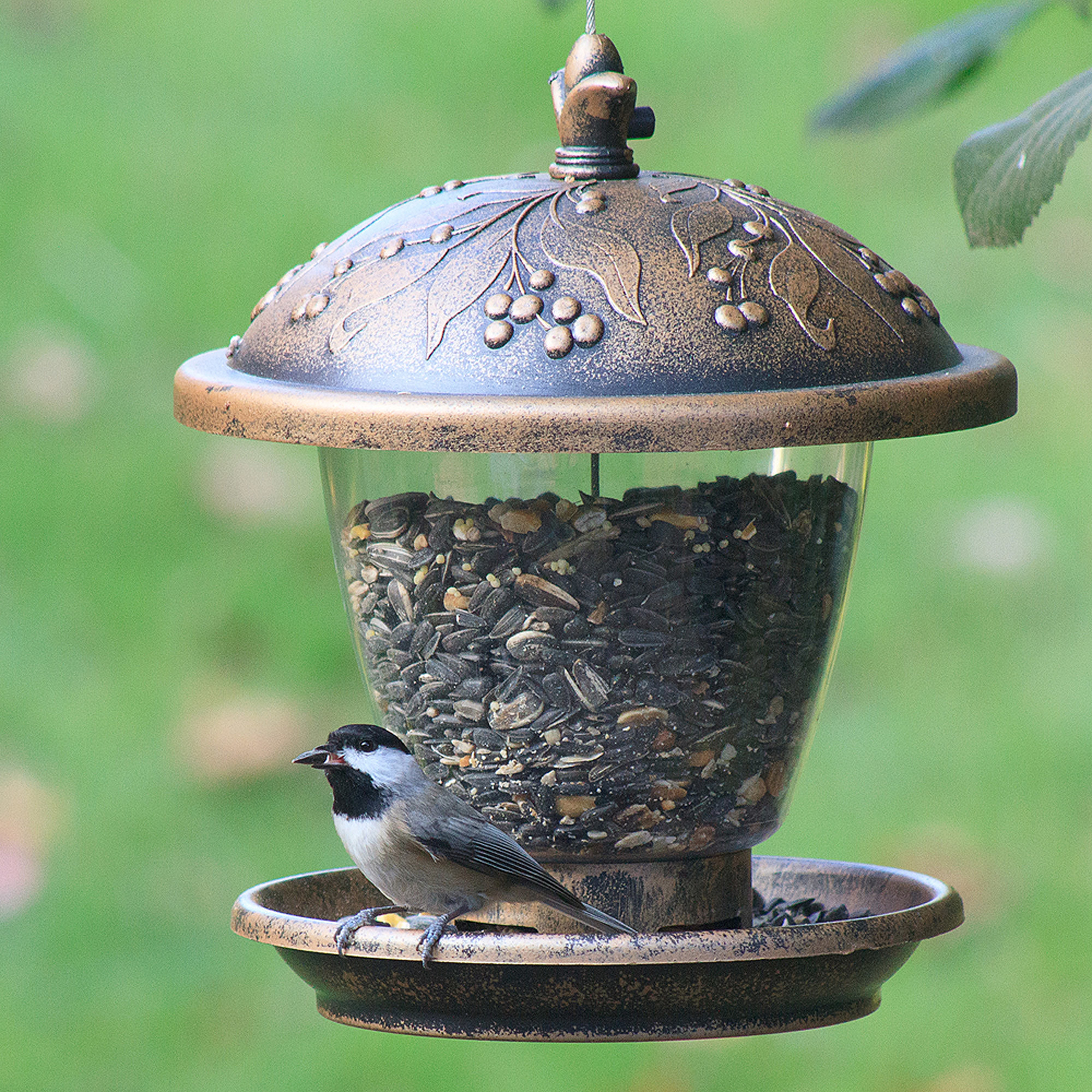 a copper and black  bird feeder with a grape leaf design on the top