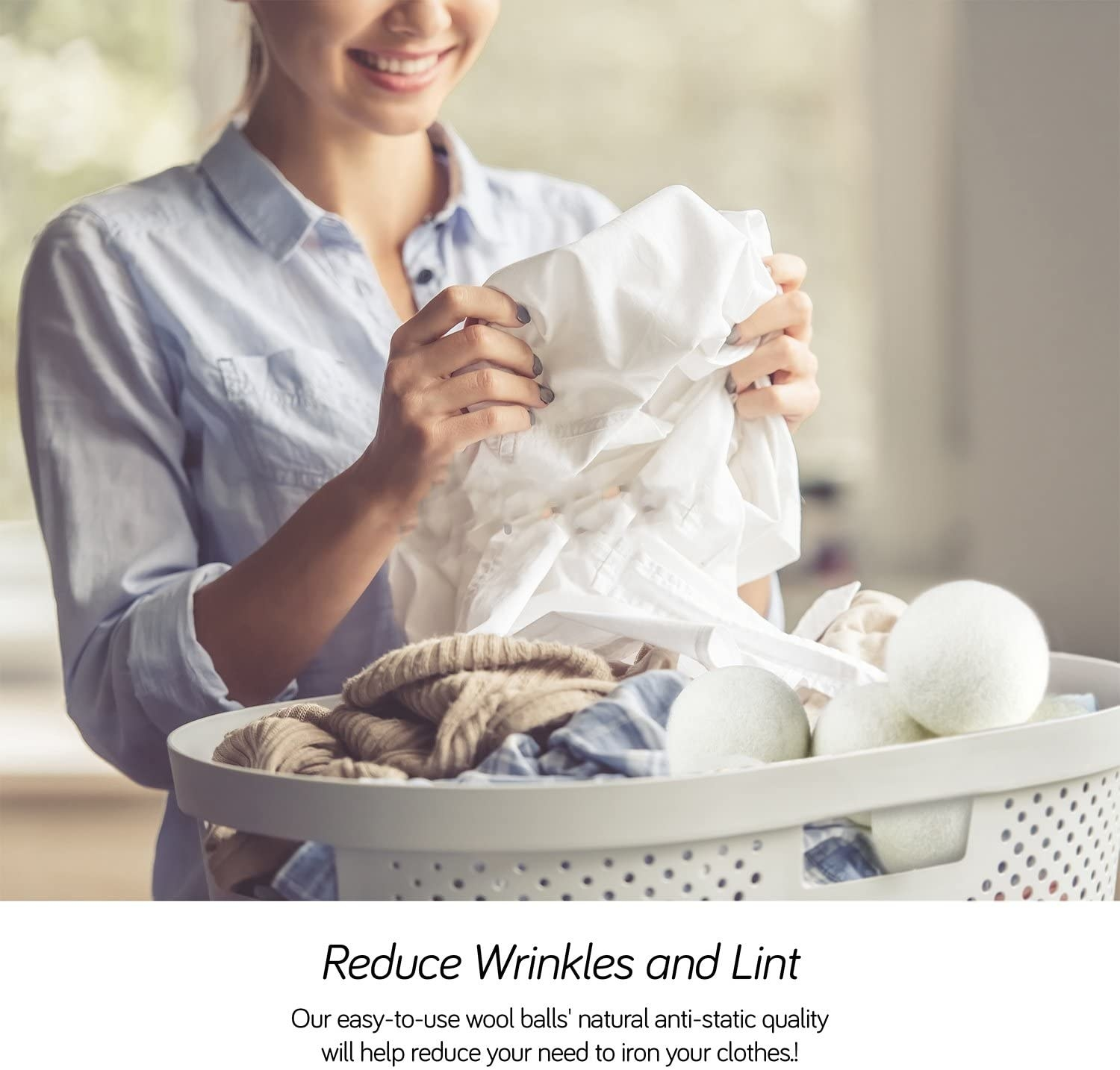 Infographic explaining that the dryer balls can help reduce wrinkles and lint
