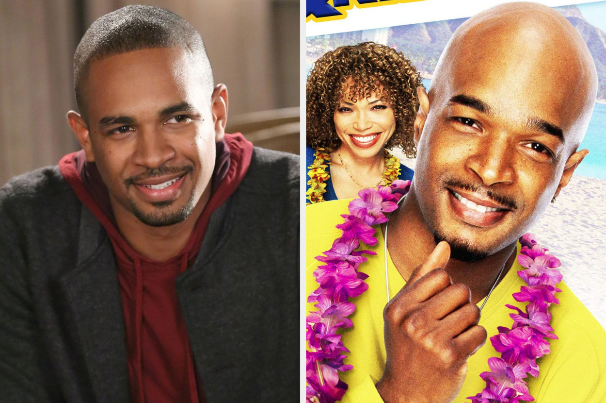 A split image showing a close up of Damon Wayans junior in New Girl and Damon Wayans senior of the front of the DVD cover for My Wife and Kids