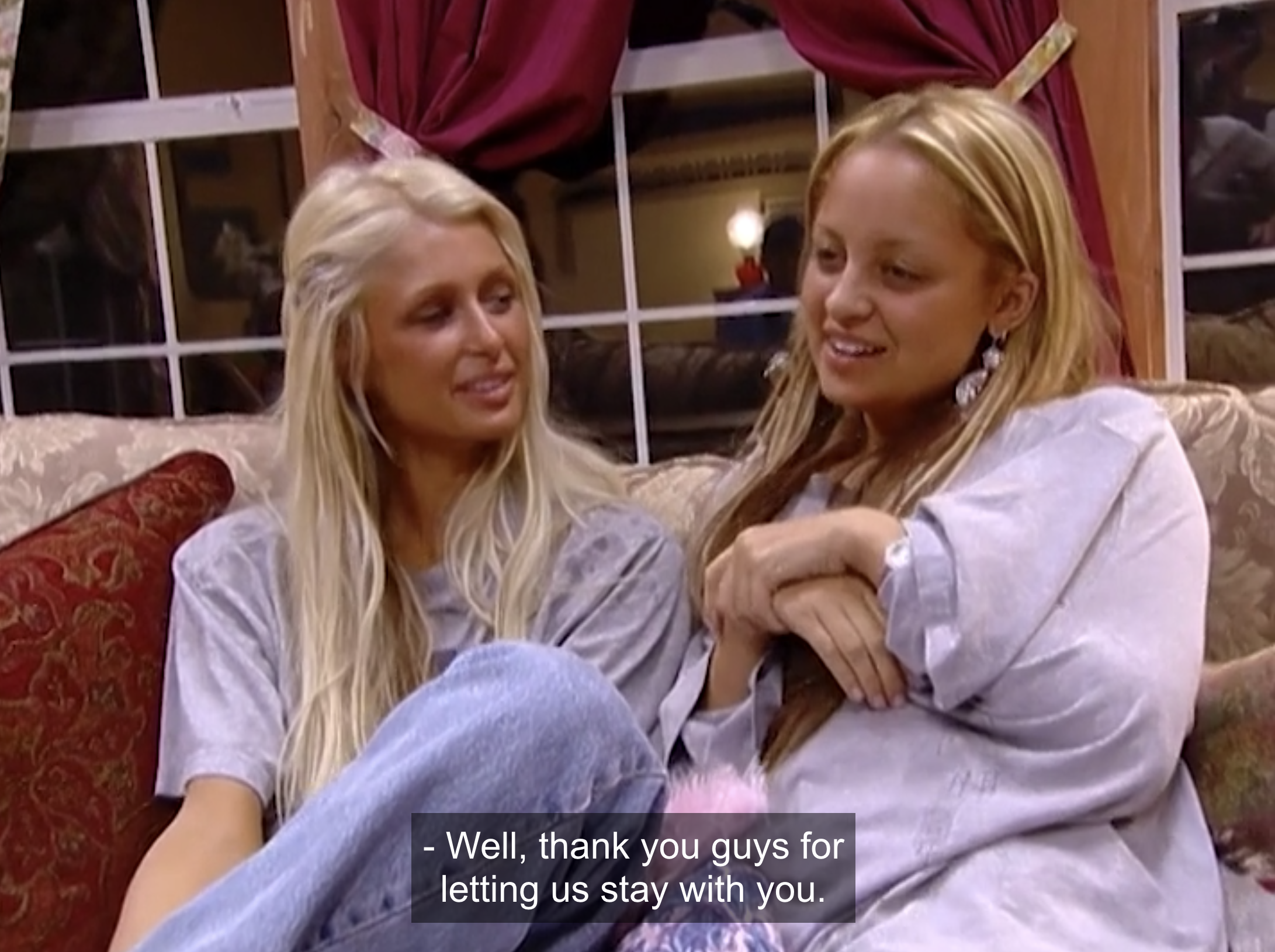 Paris and Nicole thanking their host family for taking them in.
