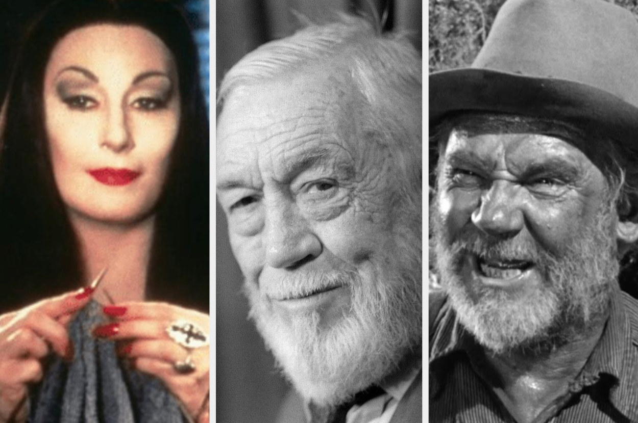 A split image showing a close up of Anjelica Huston as Morticia Addams, a Getty image of John Huston as an old man, and a still from the movie The Treasure of the Sierra Madre of Walter Huston as a bearded bandit