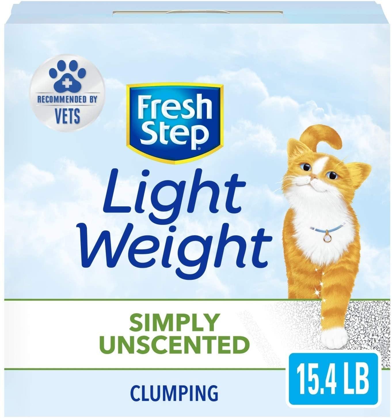 Light blue packaging of cat litter