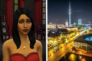 Bella Goth pictured next to the Berlin skyline