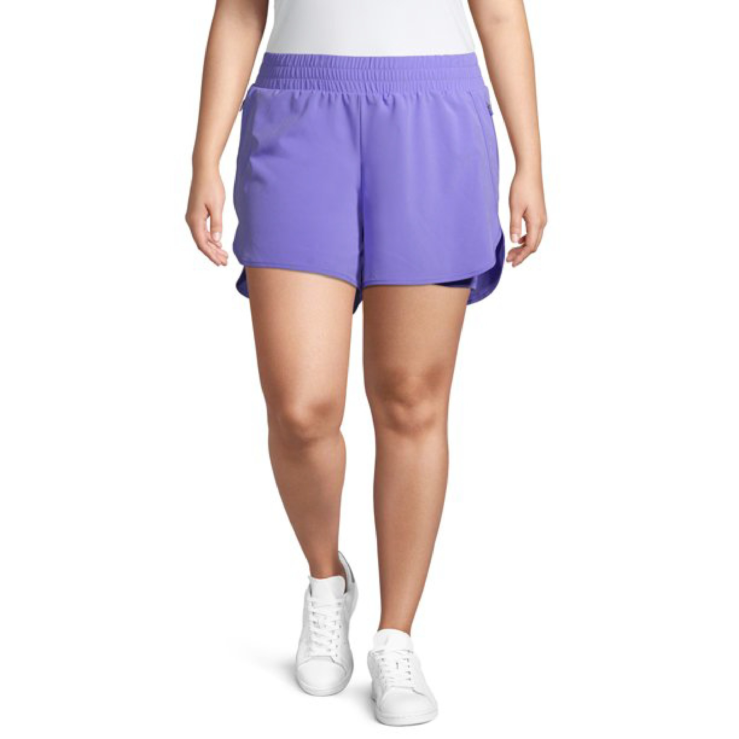 Model wearing the purple gym shorts