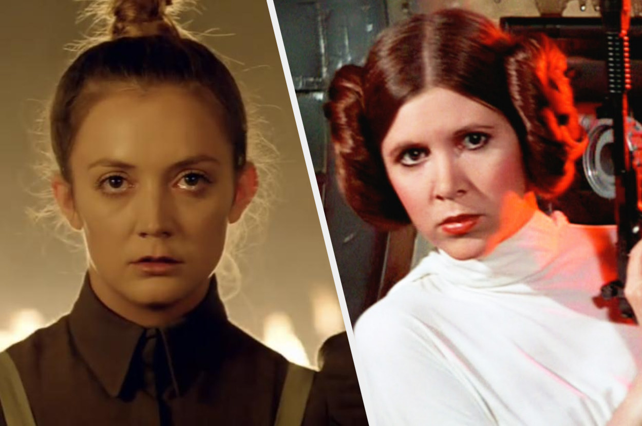 A split image show a close up of Billie Lourd in American Horror Story Cult and Carrie Fisher dressed as Stars Wars character Leia in one of the movies