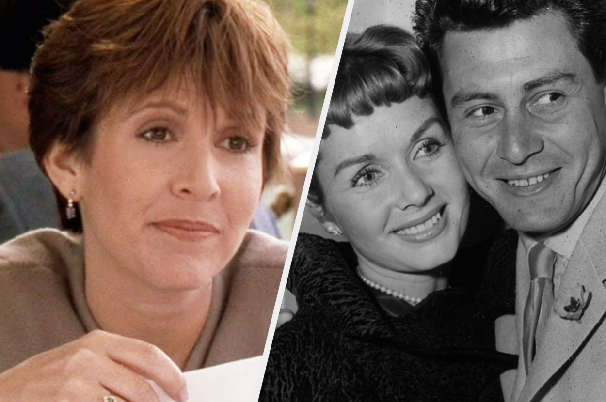 A split image showing a close up of a middle aged Carrie Fisher in When Harry Met Sally and a black and white Getty image of her parents Eddie and Debbie hugging