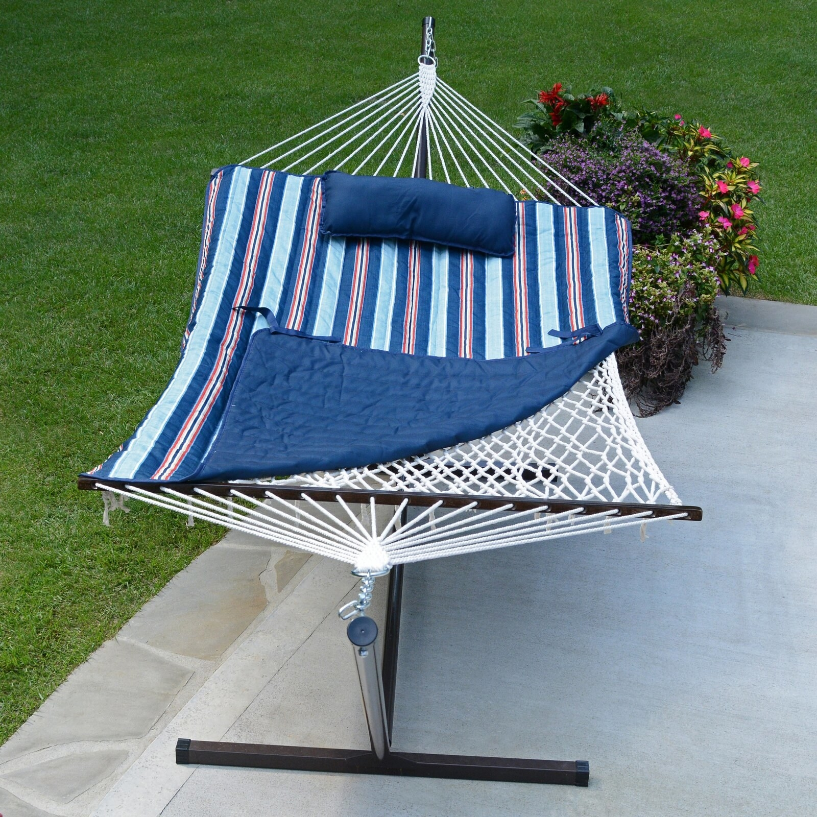 Rope hammock with stand and cotton pad in red, white, and blue stripes