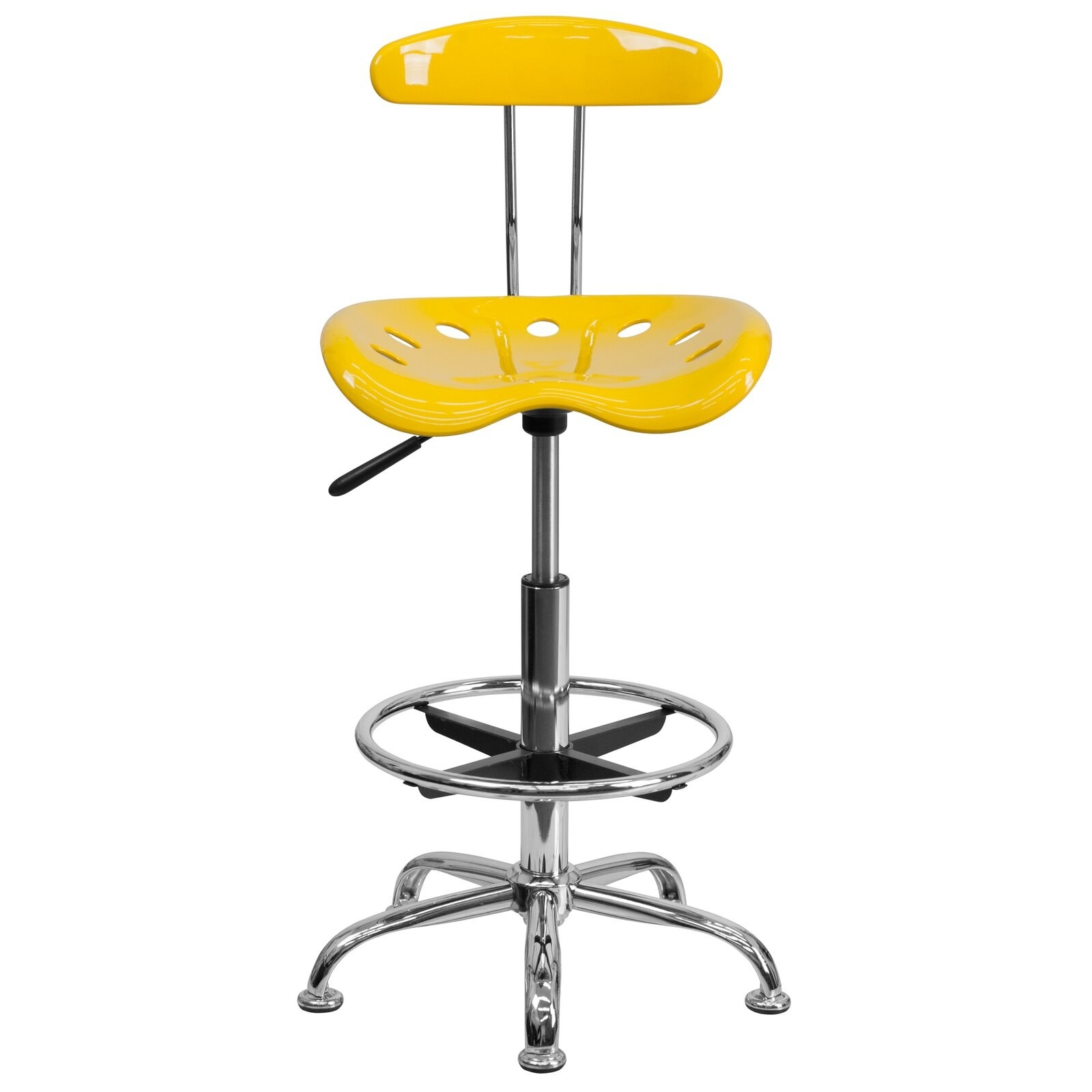 Lila drafting chair in yellow with full 360-degree swivel function and foot rest