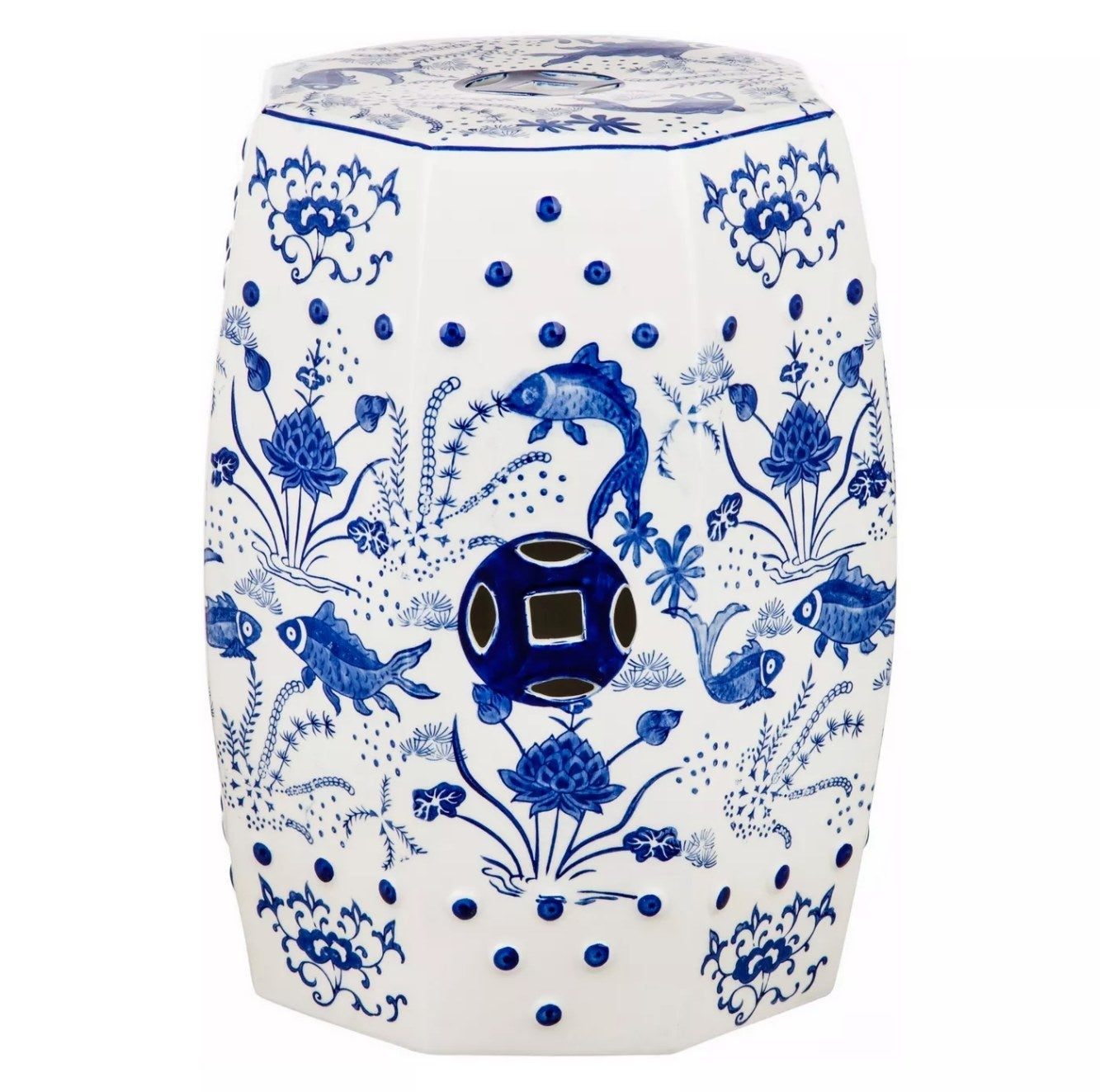 The blue and white floral stool