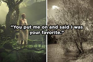 """On the left, Taylor Swift in the """"Cardigan"""" music video, and on the right, an old-timey picture of a forest and the lyrics, """"you put me on and said I was your favorite"""" are typed on top"""