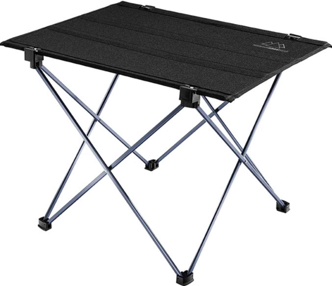 black table with camp chair–like folding legs and foldable top