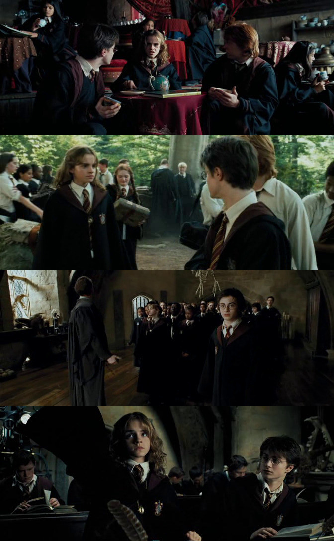 Hermione traveling to various classes with the time-turner, Harry and Ron always surprised when she pops out of nowhere