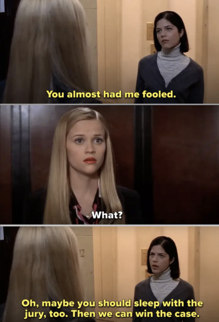 Vivian confronting Elle at the elevator