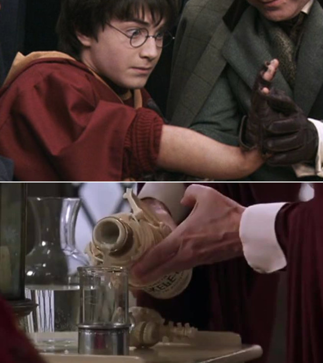 Harry staring at his wobbly broken arm after being attacked in the Quidditch game; Madam Pomfrey pouring the potion to regrow Harry's bone in a glass