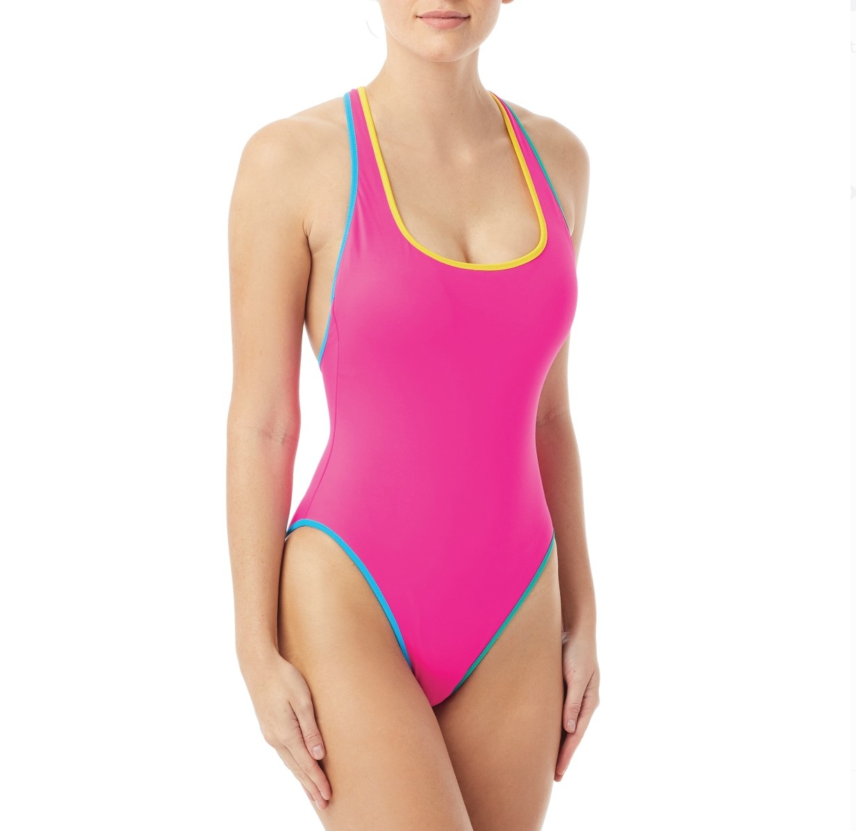 A model in a neon pink one piece with yellow and blue seams