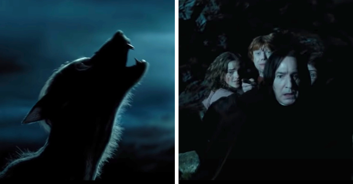 Snape protecting Hermione, Ron, and Harry from Lupin as he turns into a werewolf at night underneath the moon; they all have terrified expressions on their faces