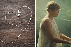 """On the left, earbuds twisted into the shape of a heart, and on the right, Taylor Swift plays the piano in the """"Cardigan"""" music video"""