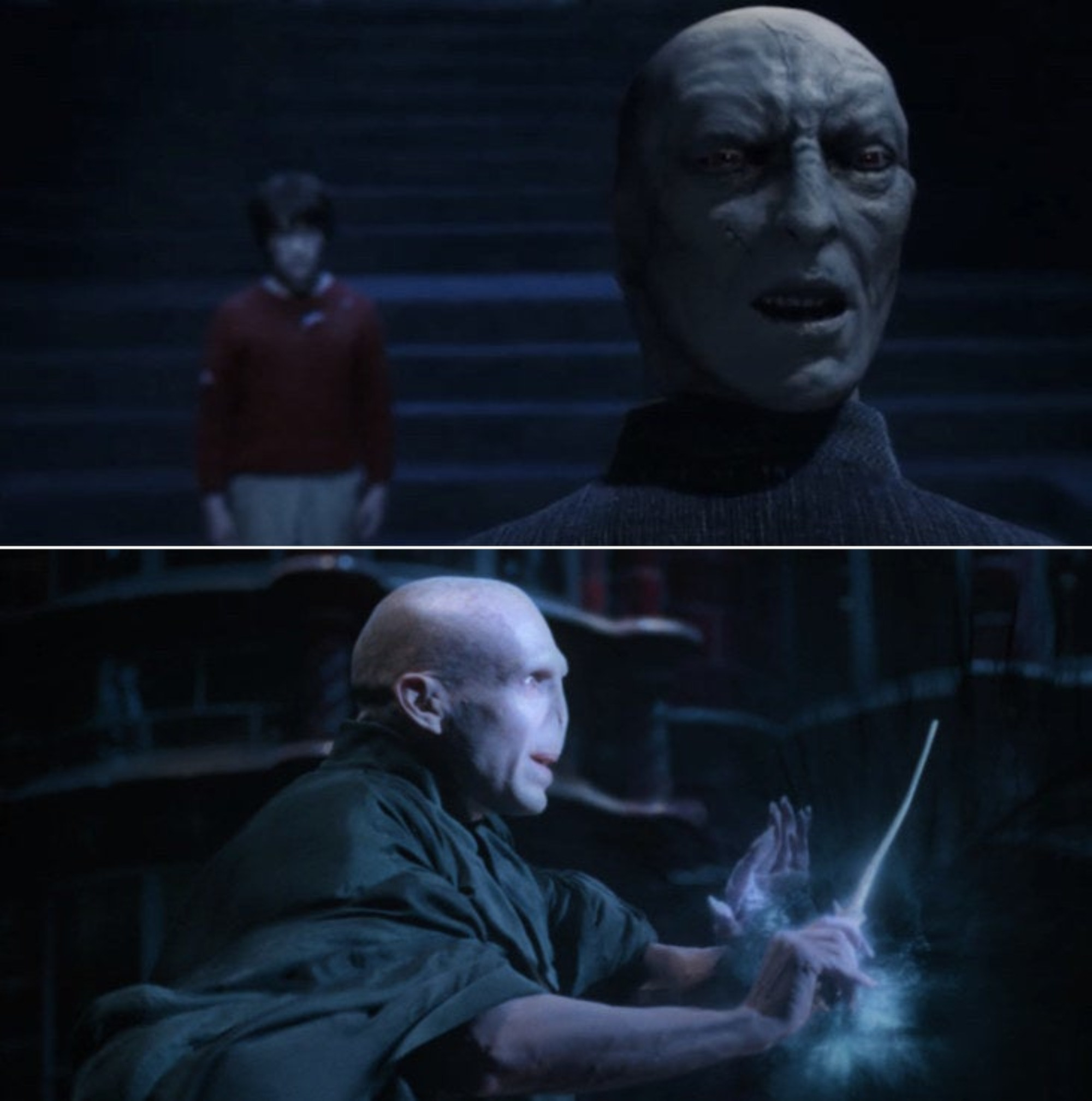 Voldemort talking to Harry while being stuck in Professor Quirrell with an evil expression on his face; Voldemort battling Dumbledore at the Ministry of Magic with determination