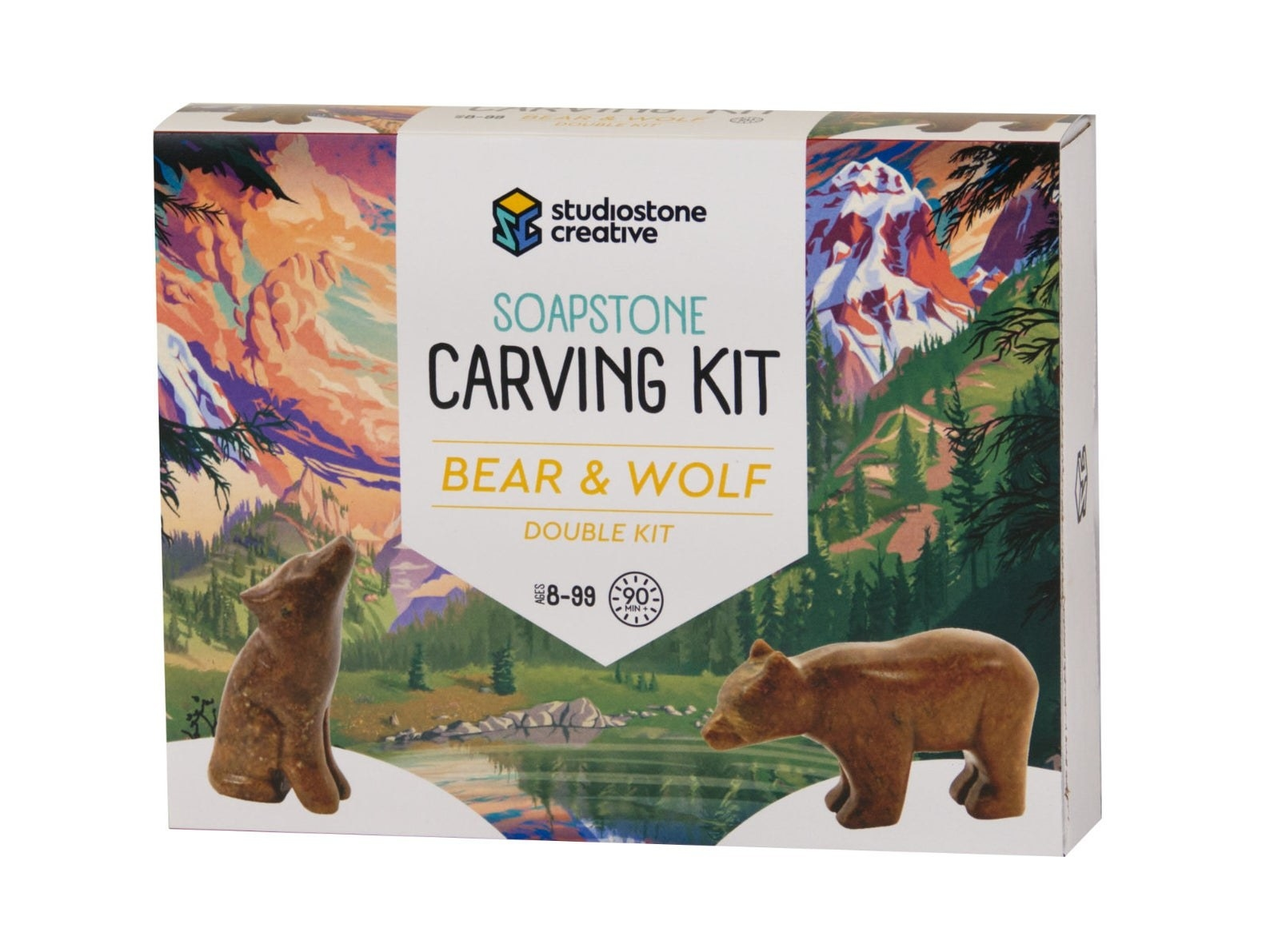 Packaging showing the carving kit meant to help you create a wooden bear and wolf