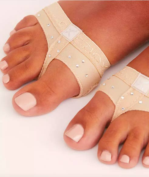 A close up picture of a person's feet wearing the toe thongs