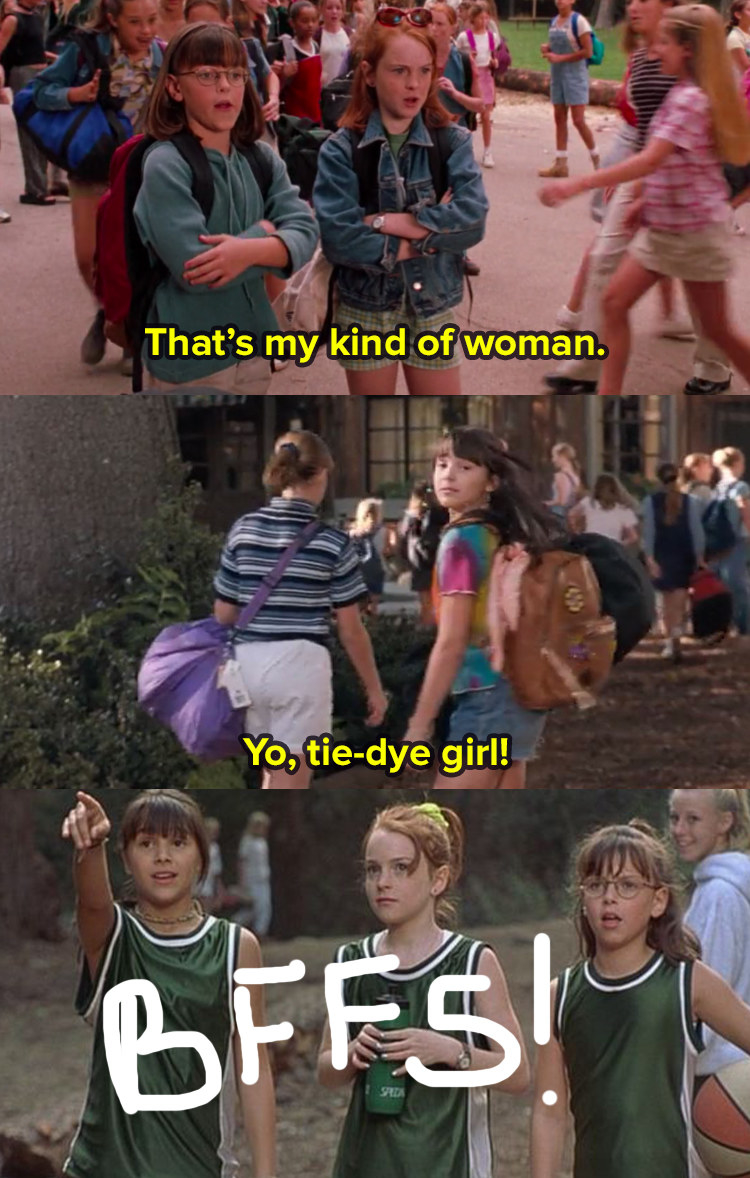 3 images from The Parent Trap. In image 1 Hallie stands with a girl by a pile of bags and they look at someone off screen and say that's my kind of woman. In image 2 the girl turns around and Hallie says yo, tie-dye girl. In image 3 they are all together