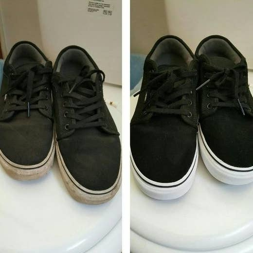 Reviewer's before-and-after of dirty black sneaker with ruined white soles and then totally clean sneakers with perfectly white soles
