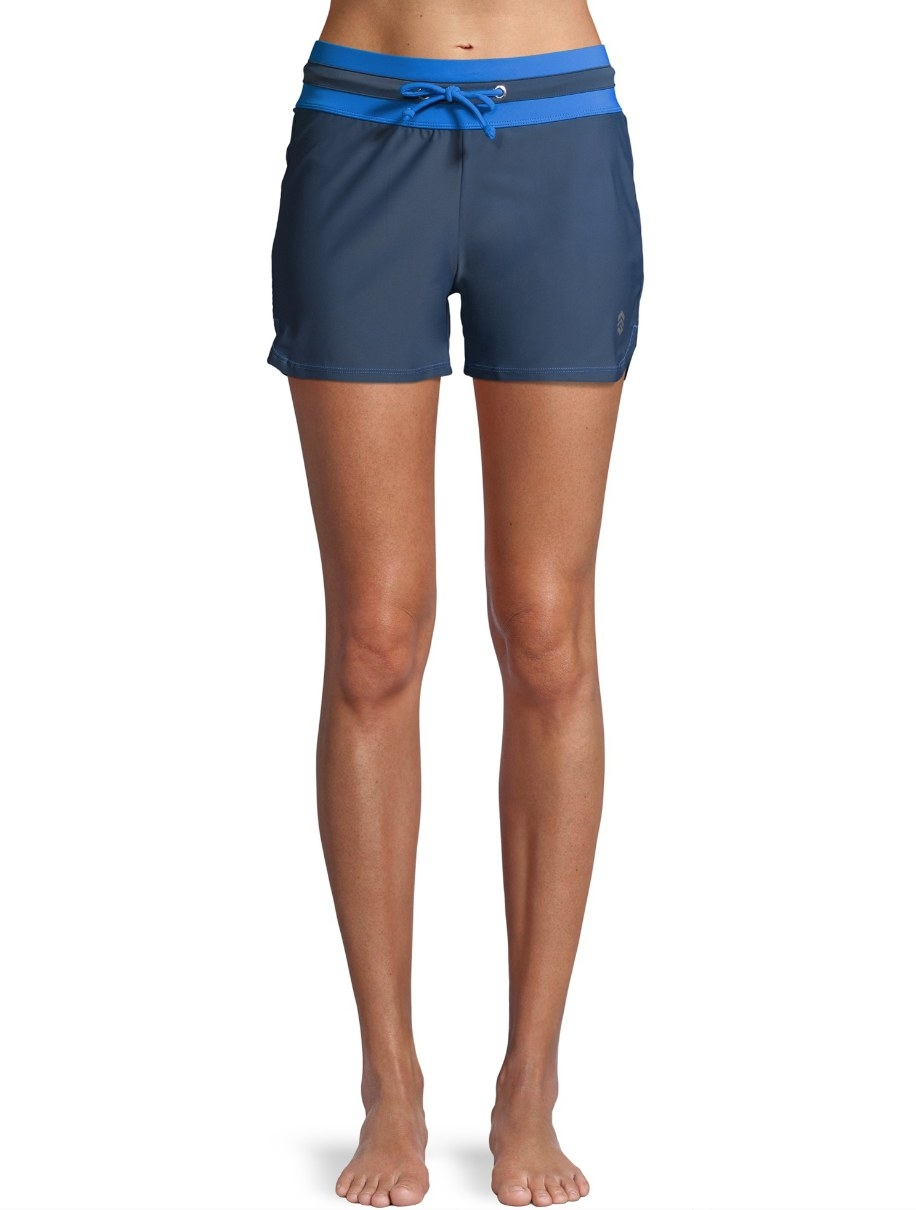 Gray shorts with blue detailing