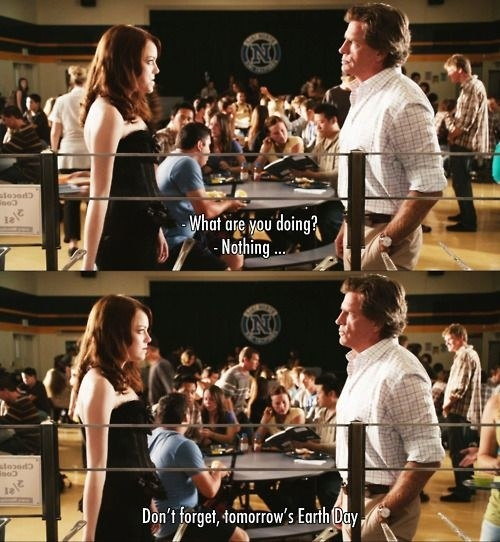 A stacked image showing stills from the movie Easy A. Olive stands with her teacher in the canteen. He says what are you doing and she replies nothing. He then says don't forget tomorrow's Earth Day
