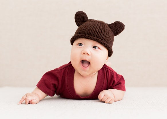Baby in a knit bear hat