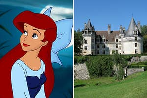 """On the right, Ariel from """"The Little Mermaid"""" looks off to the side, and on the right, a beautiful castle in France on top of a hill, surrounded by lush fields of grass"""