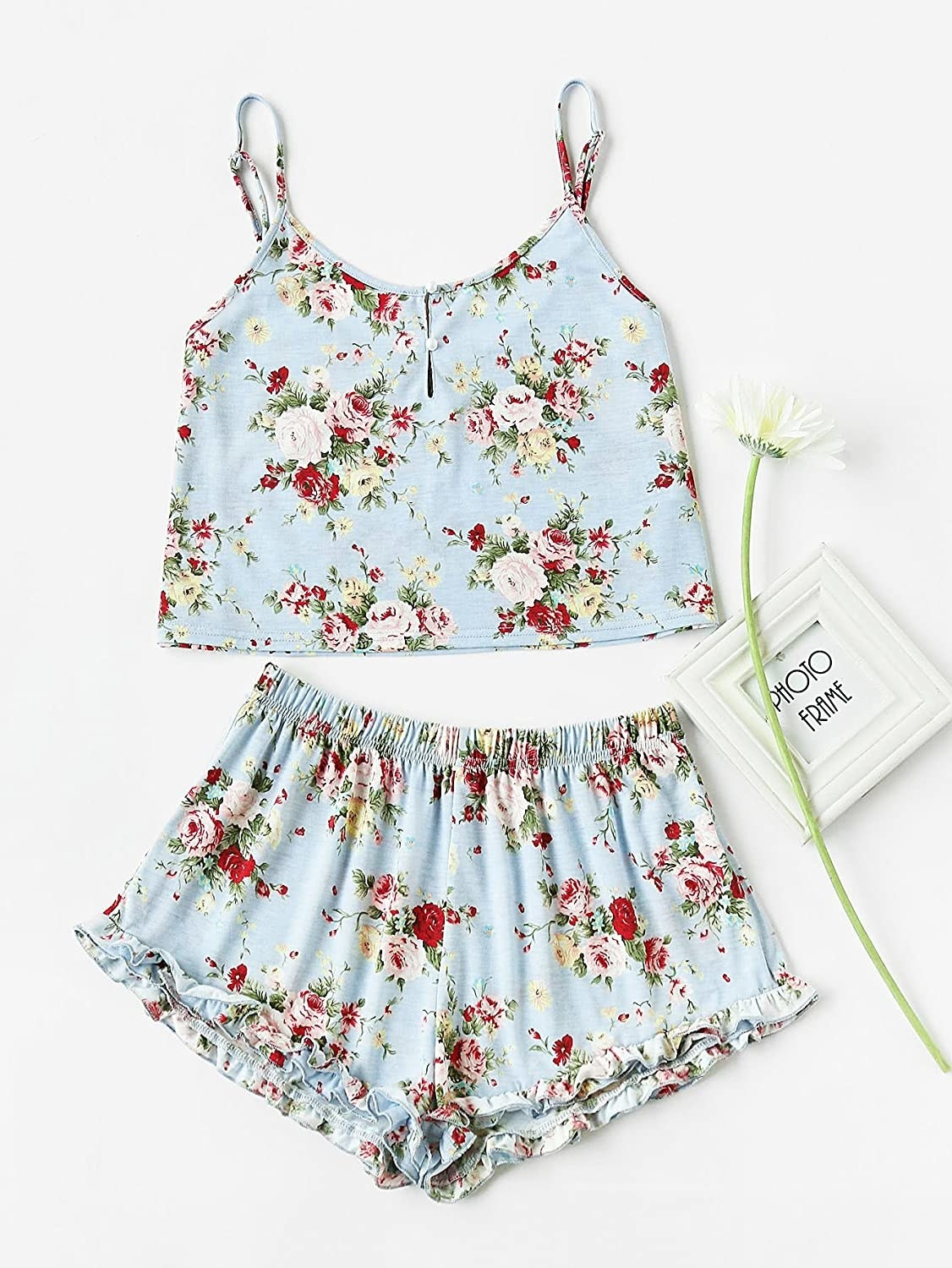 A pair of frilled short and a short cami