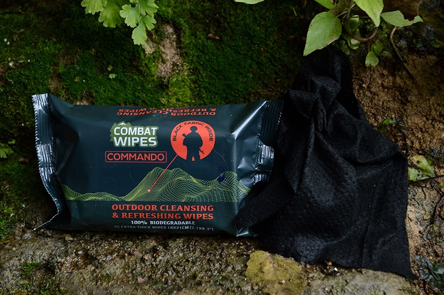 A pack of wipes on a rock