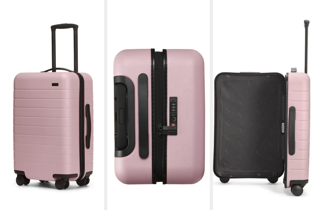 Three images of a pink away suitcase, closed, top-down, and opened with black interior, accents, and wheels