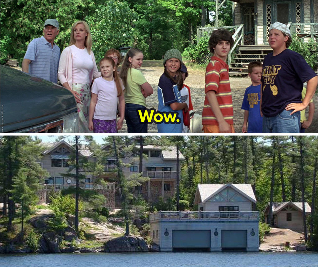 A stacked image shows stills from Cheaper by the Dozen in which the family stand by their car and look at something off screen while Sarah says wow. The second image shows a luxurious lake house