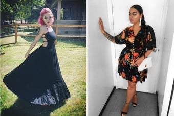 split thumbnail of person wearing long black sundress with full skirt, other person with curvier figure wearing a short sleeve button-down black floral dress