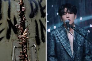 On the left, Zombie hands reach out from a barely-open door and on the right Day6's Wonpil sings into a microphone
