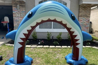 reviewer photo of a shark sprinkler