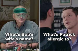 """the questions """"What's Bob's wife's name?"""" and """"What's Patrick allergic to?"""""""